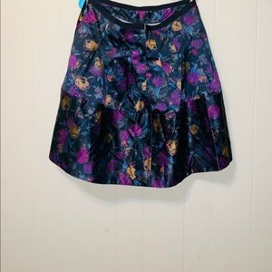 The Limited purple flower print satin skirt